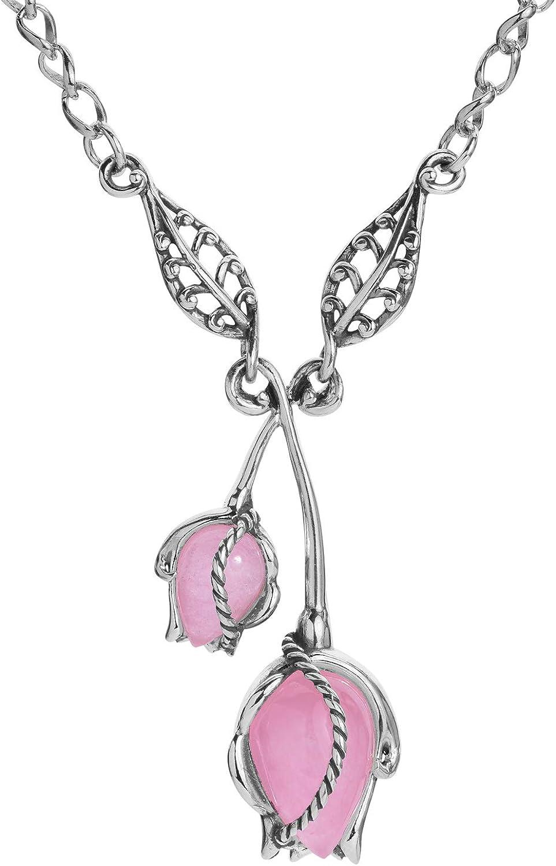 Carolyn Pollack Sterling Silver Pink Jade Gemstone Rosebud Necklace 17 to 20 Inch