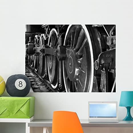 Wallmonkeys Train Wheels Black and Wall Mural Peel and Stick Graphic (36 in  W x 27 in H) WM321919