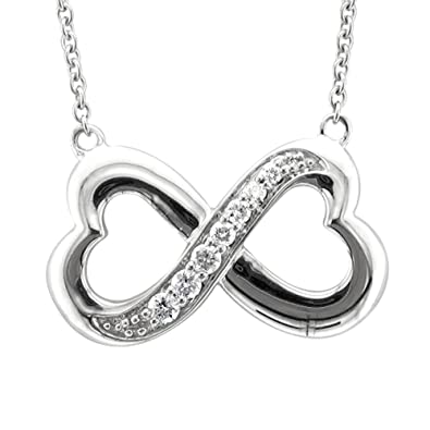 Amazon sterling silver infinity heart 7 stone diamond pendant sterling silver infinity heart 7 stone diamond pendant necklace 14 carat mozeypictures