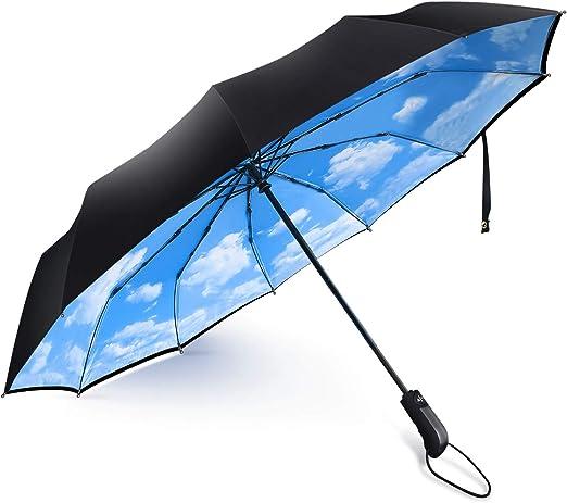 DOENR Compact Travel Umbrella 3D Pattern Sun and Rain Auto Open Close Umbrellas Lightweight Portable Outdoor Folding Umbrella