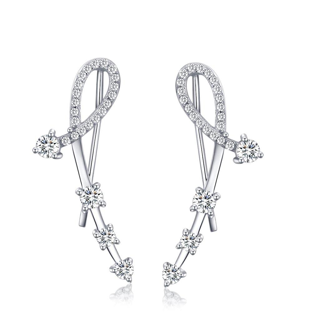 LOCHING Chic Arrow Star Ear Crawler Earrings Ear Cuff Chandelier Wrap Pin Inlaid Zircon 925 Silver Earrings … (Arrow)