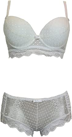 icecoolfashion Contrast Lace Trim Push Up Bra and Hipster Set B,C Cup