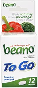 beano To Go Gas Prevention | Bloating Relief | 12 Tablets