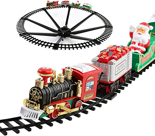 Fxqin Christmas Train Toys Set Around Christmas Tree Electric Train Set With Light Sounds Include 4 Cars And 8 Tracks Battery Powered Model Train Set For Kids Train Railway Playset Amazon Co Uk Sports