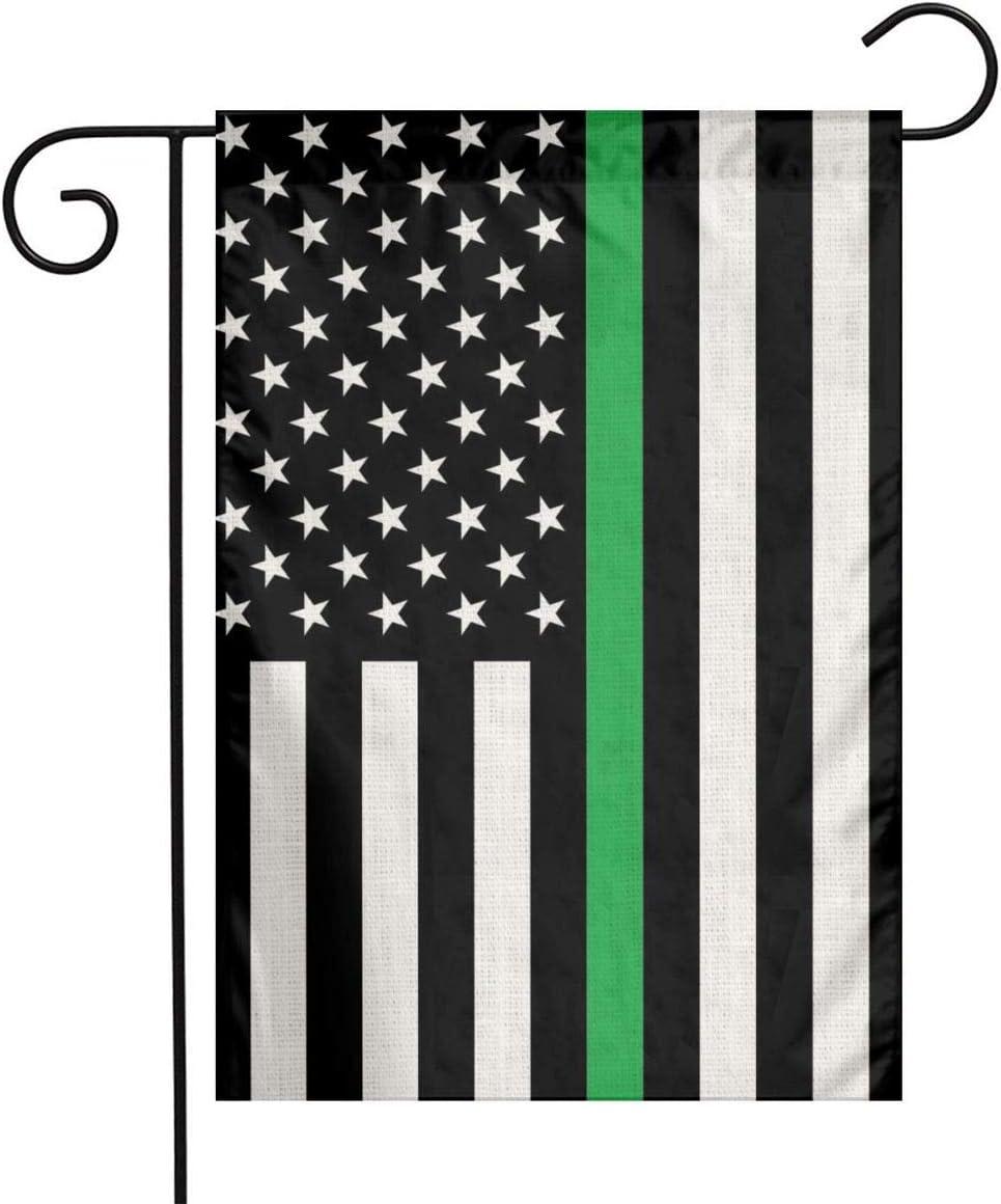 Yanghome Army Military Thin Green Line Black American Usa Flag Flax Nylon Burlap Linen Fabric Garden Flag Farmhouse Decorations Mailbox Decor Welcome Sign 12x18 Inch Small Mini Size Double Sided