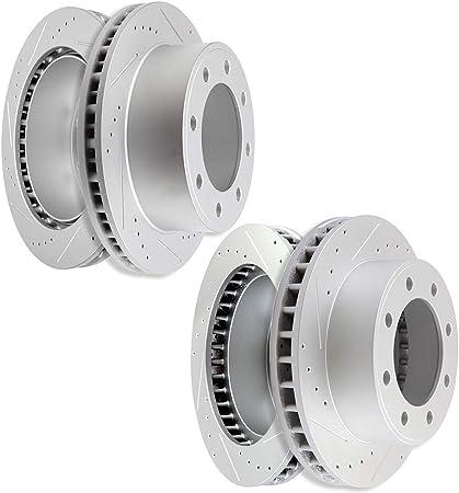 KT032523 Premium Cross Drilled Rotors + Ceramic Pads Max Brakes Front /& Rear Performance Brake Kit Fits: 2003 03 Ford F-250 Super Duty 4WD Models w// 13.03 Diameter Front Rotors
