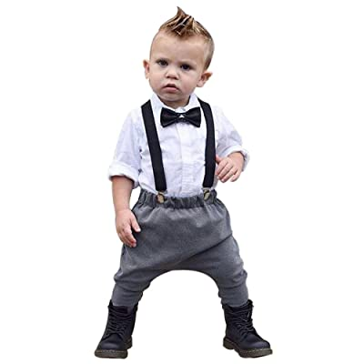 Allywit 2pcs Kids Baby Boy Gentleman Handsome Shirt+Pants Trousers Clothes Outfits Set