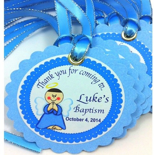 12 Custom Gift Tags Angel Party Theme - Personalized Baby Shower or Baptism Card Stock Favor Tags (Angel Baby Shower Theme)
