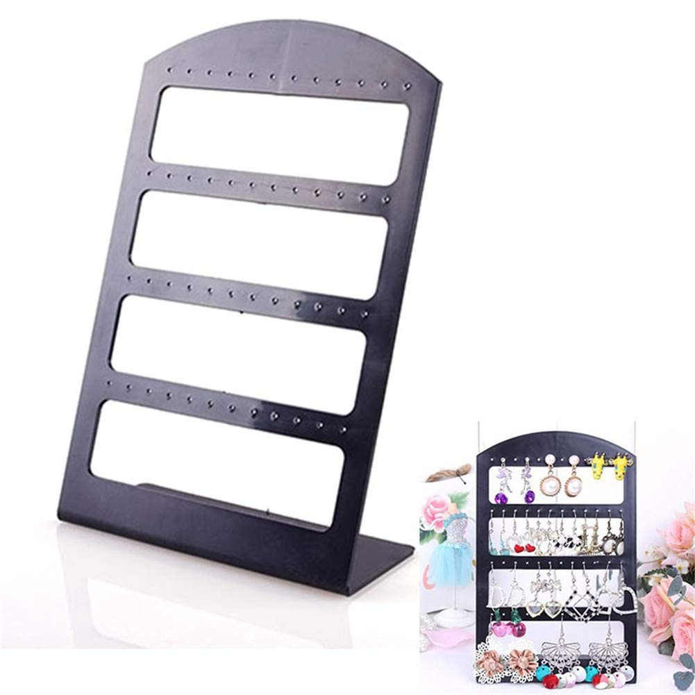 Jewelry Organizer Stand Black Plastic Earring Holder Pesentoir Fashion Earrings Display Rack Etagere 30894 (48 Holes) AxiEr