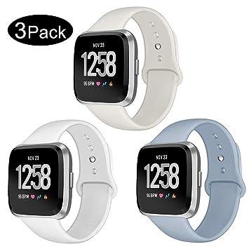 Kmasic Correa para Fitbit Versa/Versa Lite, Pulsera de Repuesto de Silicona Suave para Fitbit Versa Fitness Smartwatch, Grande Pequeño