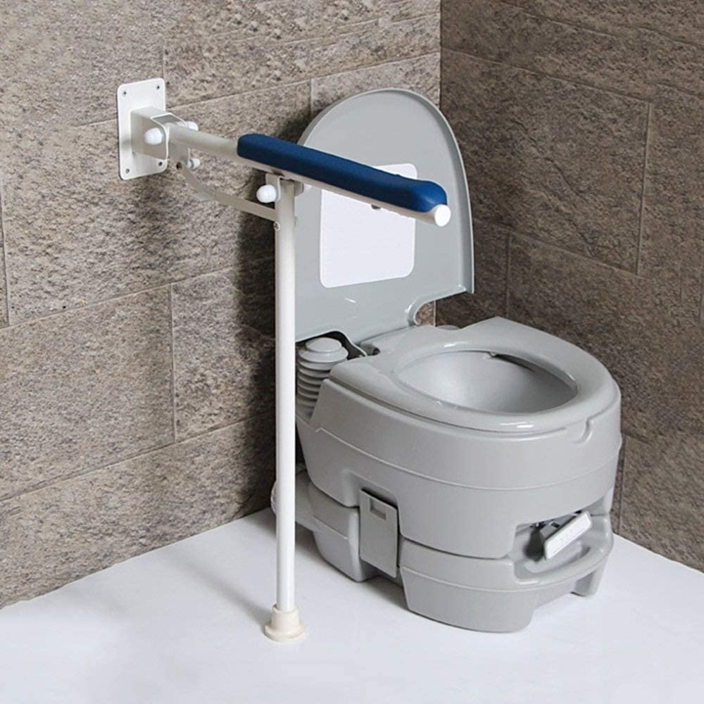 Bathroom Handrails/Foldable/Stainless Steel Floor-Standing Grab Rails/Toilet Shower Grab Bar/Elderly Non-Slip Safety Armrest JINRONG (Color : Blue) 610wsxdYQ3L