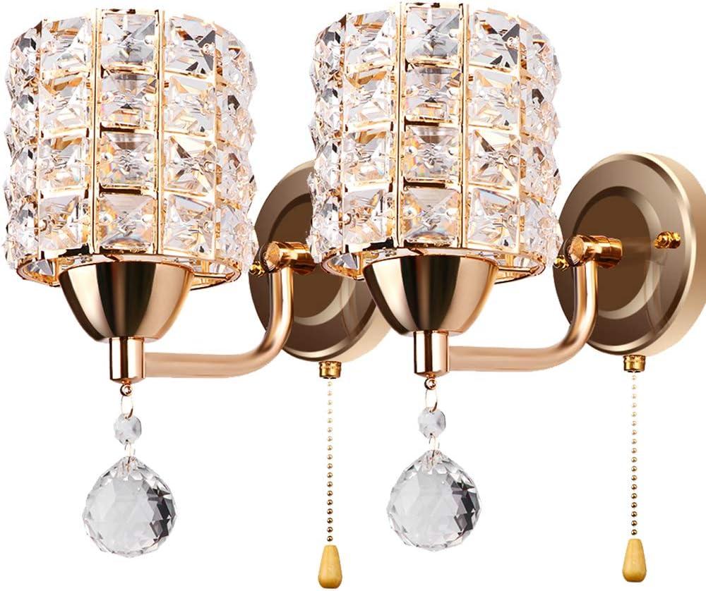 ALLOMN Aplique de Estilo Moderno, Lámpara de Pared Colgante de Cristal Dormitorio Pasillo Salón Lámpara de pared con Interruptor de Extracción E14 Enchufe (sin Bombilla Incluida) (Dorado, 2 PCS)