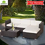 Diensday Deluxe Aluminum 5 Piece All-Weather Cushioned Indoor/Outdoor Patio PE Rattan Furniture Set Sectional Clearance Garden furniture 1 YEAR WARRANTY(Brown, Beige.)