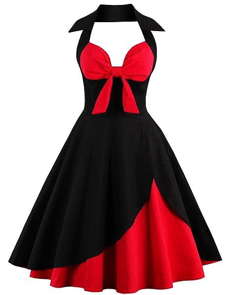 Rolanscia Mujer Vestido De Estilo 1950s 60s Fiesta Halter Retro Vintage Rockabilly Floral Black&Red S