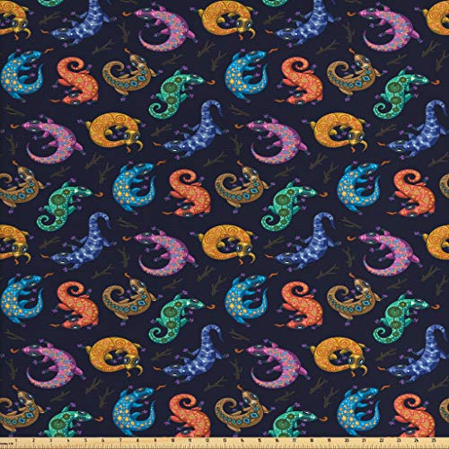 Lunarable Reptile Fabric by The Yard, Colorful Bohemian Gecko Pattern Ethnic Lizard Composition Animal Fun Cartoon Ornate, Decorative Fabric for Upholstery and Home Accents, 3 Yards, - Lizard Accent