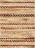 Well Woven Moroccan Stripes Area Rug Ivory Multicolor 5×7 (5'3″ x 7'3″)