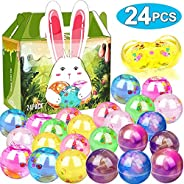 24 Pack Easter Basket Stuffers Eggs Slime, Easter Eggs Slime Kit Galaxy Clear Crystal Party Favor Slime Balls in a Bunny Del