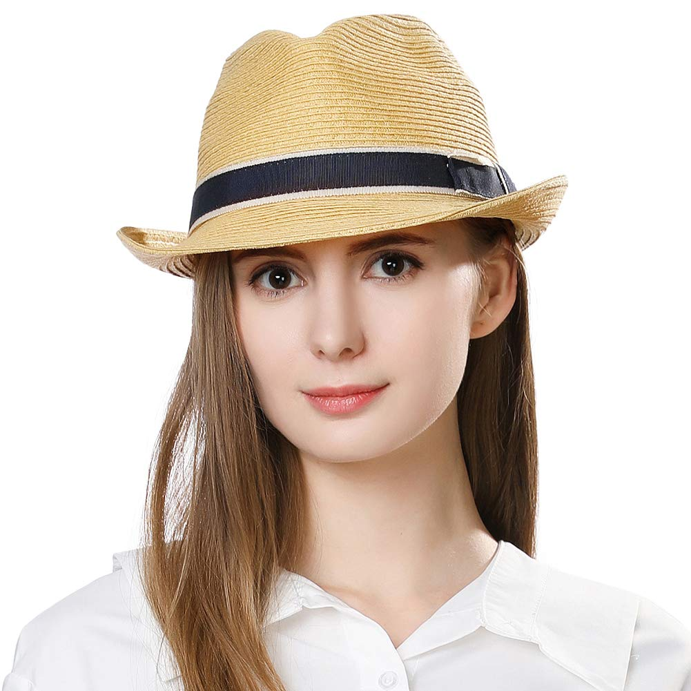 8a9c17b98bd4 Jeff & Aimy Unisex Summer Straw Fedora Trilby Panama Beach Sun Hat for Men  Women Packable