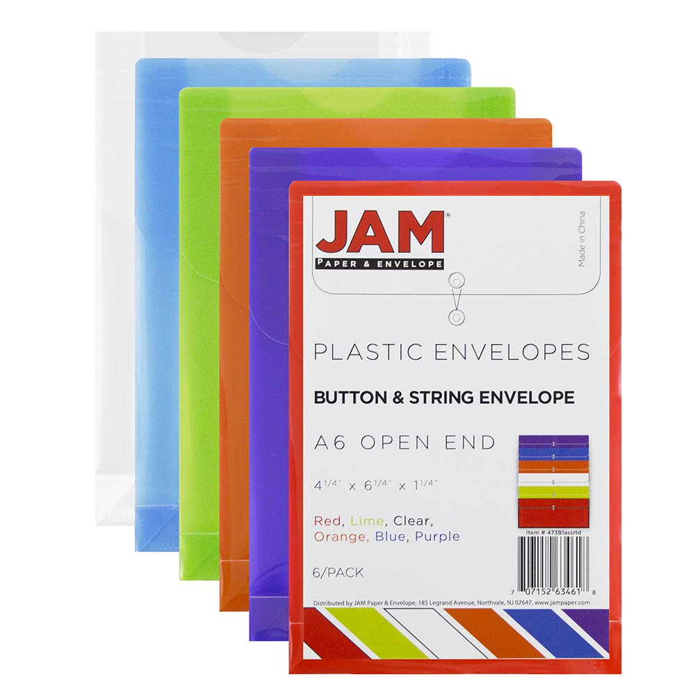 JAM Paper Plastic Envelope with Button and String Tie Closure - Small Open End - 4 1/4'' x 6 1/4'' - Assorted Colors - 6/pack