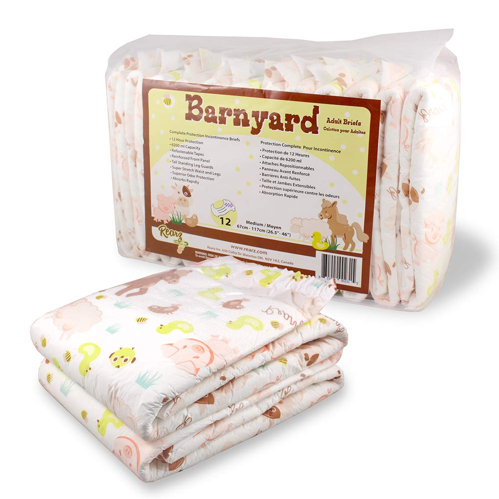 Rearz - Barnyard - Adult Diaper - 12 Pack (Medium) by Rearz