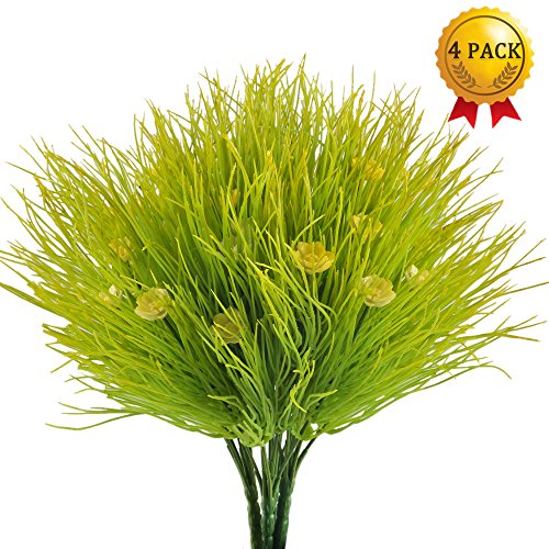 Nahuaa Fake Plants, 4PCS Artificial Flowers Faux Shrubs Plastic Wheat Grass Bushes Bundles Table Centerpieces Arrangements Home Kitchen Office Windowsill Spring Decorations by Nahuaa