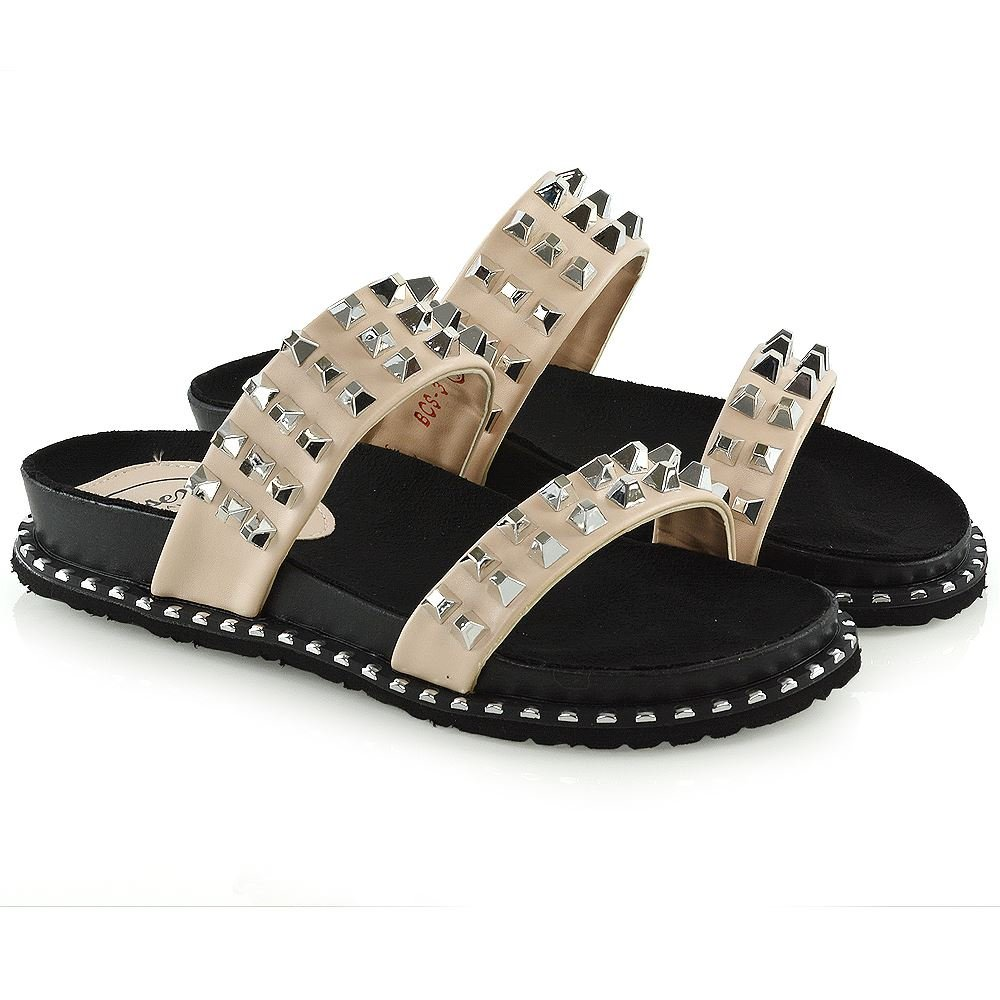 ESSEX GLAM Womens Slip On Sandals with Studs Flat Slide Mule Synthetic Leather Flatform Shoes