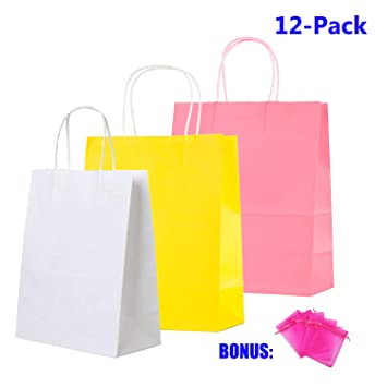 12 Count Bags Birthday Loot Treat Yellow Unique Paper Party Favor Bags