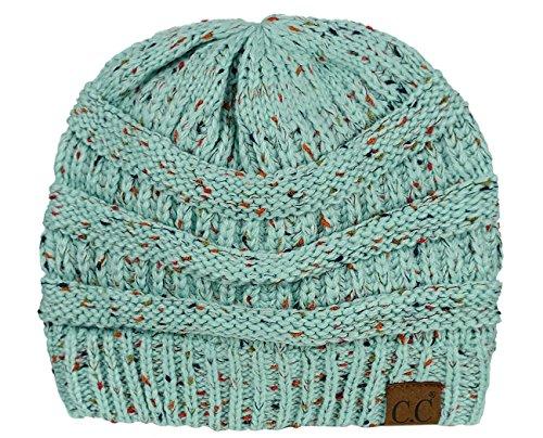 C.C Unisex Colorful Confetti Soft Stretch Cable Knit Beanie Skull Cap - Mint
