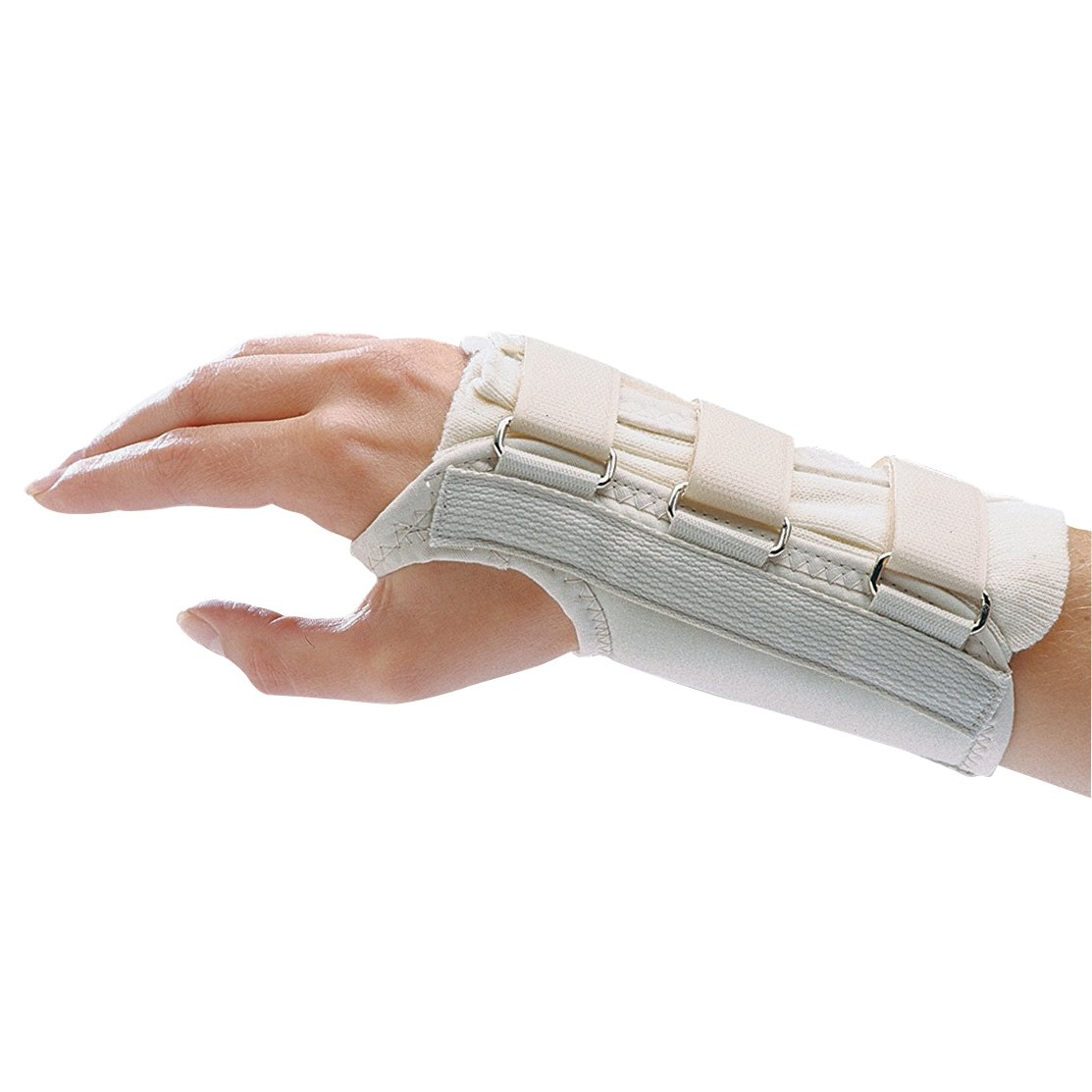 Rolyan D-Ring Right Wrist Brace, Size Large Fits Wrists 7.75''-8.5'', 7.5'' Regular Length Support, Beige Brace with Straps and D-Ring Connectors to Secure and Stabilize Hands and Wrists