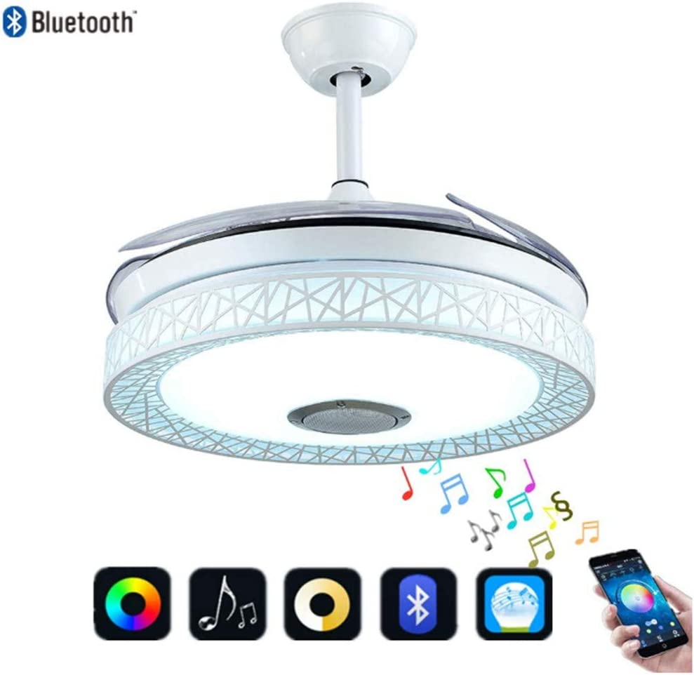 42 Smart Bluetooth Multi-function Ceiling Fan Light with Remote Music Speaker,Adjustable LED Invisible Telescopic Blade Chandelier Fan Lighting for Restaurant Study Bedroom White