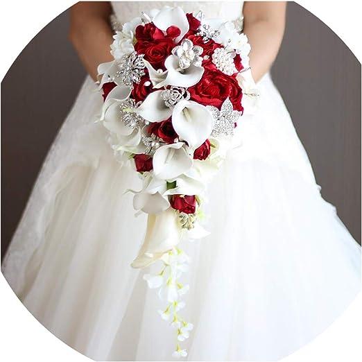 Amazon Com Royal Blue Artificial Bride Flowers Waterfall Wedding