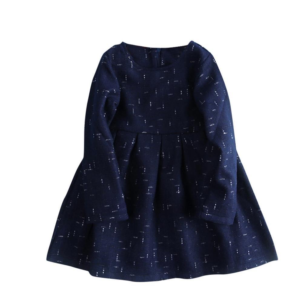 Remiel Store Little Kids Girls Cute Long Sleeve Printing Cotton Warm Winter Dress
