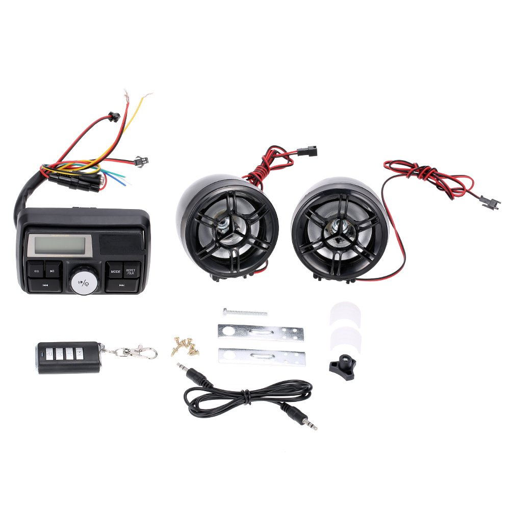 KKmoon Audio Altavoces Amplificador Impermeable Esté reo FM MP3 USB AUX Remoto con Sistema de Alarma para Motocicleta