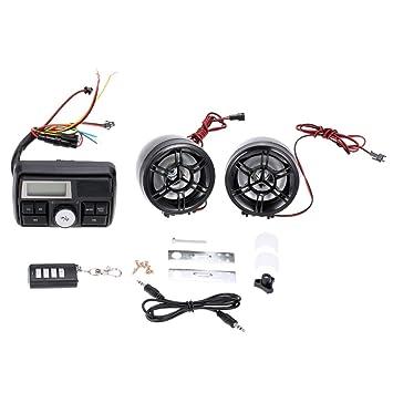 KKmoon Audio Altavoces Amplificador Impermeable Estéreo FM MP3 USB AUX Remoto con Sistema de Alarma para Motocicleta