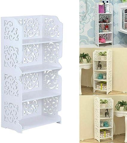 KingSaid Estantería esquinera de 4 niveles para almacenamiento de estantería, expositor, zapatero, cuarto de baño