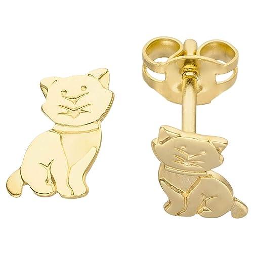 Pendientes para niños pendientes oro pendientes gato gatito de oro amarillo 333: Amazon.es: Joyería