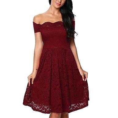 iShine® Damen Elegant Abendkleid Cocktailkleid Schulterfreies Knielang  Festlich Kleider Spitzenkleid Partykleider  Amazon.de  Bekleidung c273b0b54d