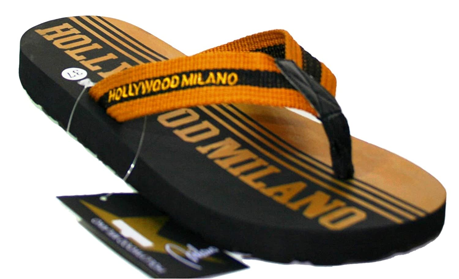 79cacc6ca1cf47 HOLLYWOOD MILANO Women s Thong Sandals Blue Blu Oro 3.5 Black Size  5   Amazon.co.uk  Shoes   Bags