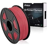 SUNLU 3D Printer Filament PLA Plus, 1.75mm PLA Filament, 3D Printing Filament Low Odor, Dimensional Accuracy +/- 0.02 mm, 2.2 LBS (1KG) Spool 3D Filament, Red PLA+