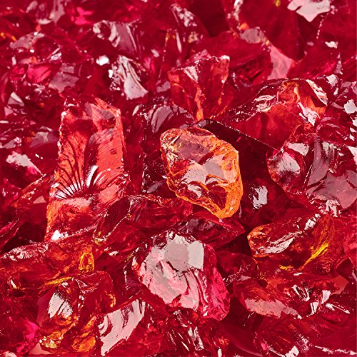 Molten Orange - Crushed Fire Glass for Indoor and Outdoor Fire Pits or Fireplaces | 10 Pounds | 3/8 Inch - 1/2 Inch (Glass Tempered Fireplace)