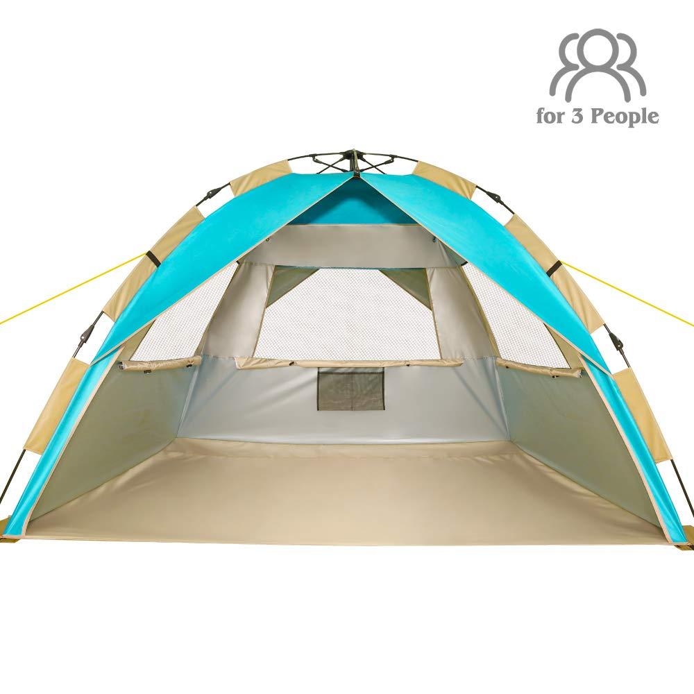 ZOMAKE インスタントビーチテント サンシェルター 3-4人用 ポップアップ式ビーチパラソル 簡単セットアップポータブルサンシェードテント SPF 50+ UV保護 子供 家族用  レイクブルー B07MKTC5PF