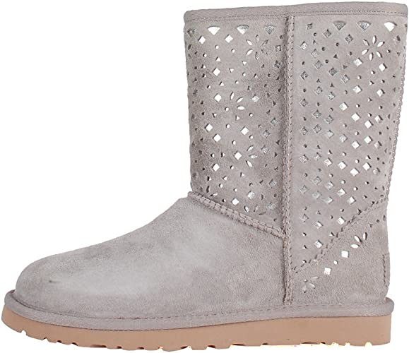 Ugg Daim Flora Classic Perf Grey W Bottes Boots Short Gris g6bf7y