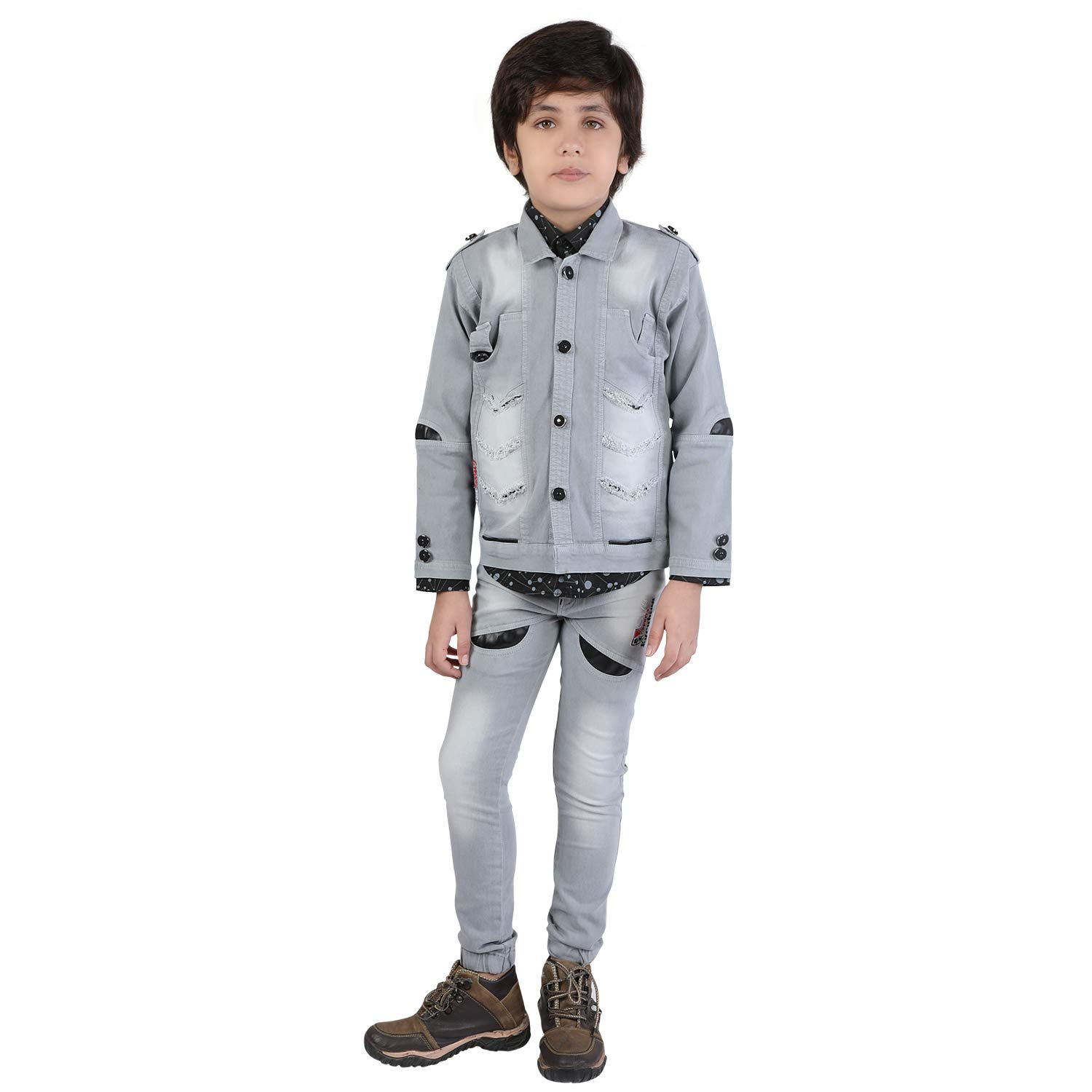4295e69254 Z G Boys Suit Set of 3 with Stylish Grey Denim Jacket
