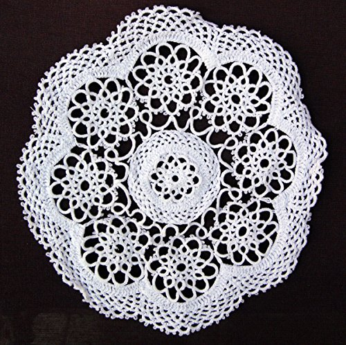 4-piece Handmade Tatting Lace Floral Cotton Traycloth Doilies, 10-inch Round (White) (Handmade Tatting)