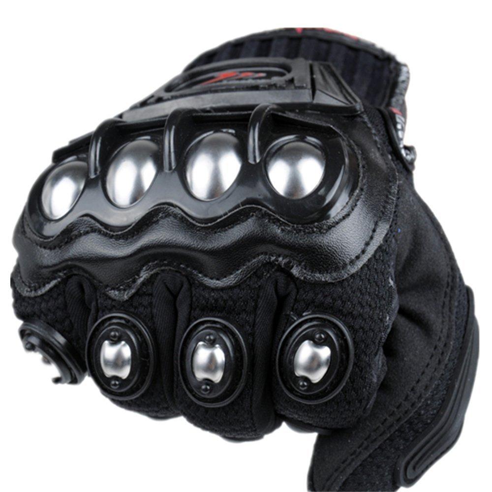 oubaiya Steel Outdoor Reinforced Brass Knuckle Motorcycle Motorbike Powersports Racing Textile Safety Gloves (Black, XX-Large) by oubaiya (Image #1)