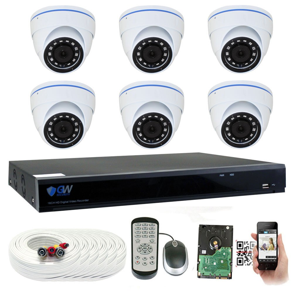 GW 8 Channel 5 Megapixel Video Day Night Security Surveillance System, 6 Weatherproof HD 5MP 2.5X 1080P Dome Cameras, Motion Detection Smart Search Email Alert
