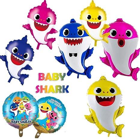 Ploufer Baby Party Balloons, Baby Cute Shark Balloons Kit para niños Fiesta de cumpleaños Decoración de la habitación del bebé, paquete de 8