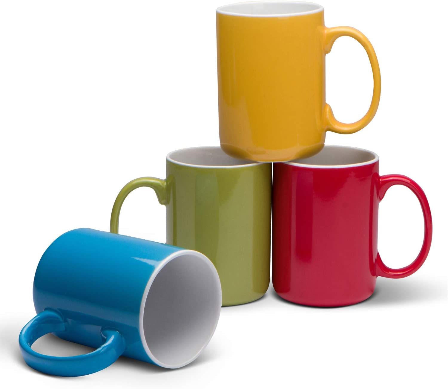 Serami 17oz Classic Color Mugs for Coffee or Tea. Large Handles and Ceramic Construction, Set of 4