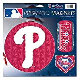 "Philadelphia Phillies MLB Prismatic 3 Different Die Cut Magnets On Single 11"" x 11"" Sheet Magnet"