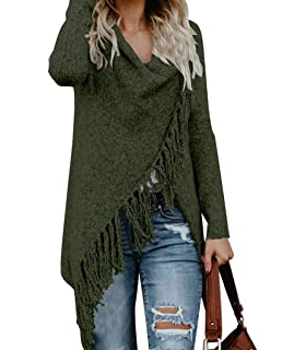 f96ded361 CEASIKERY Women s Tassel Hem Sweater Long Cardigan Knitwer Pullover Poncho  Coat